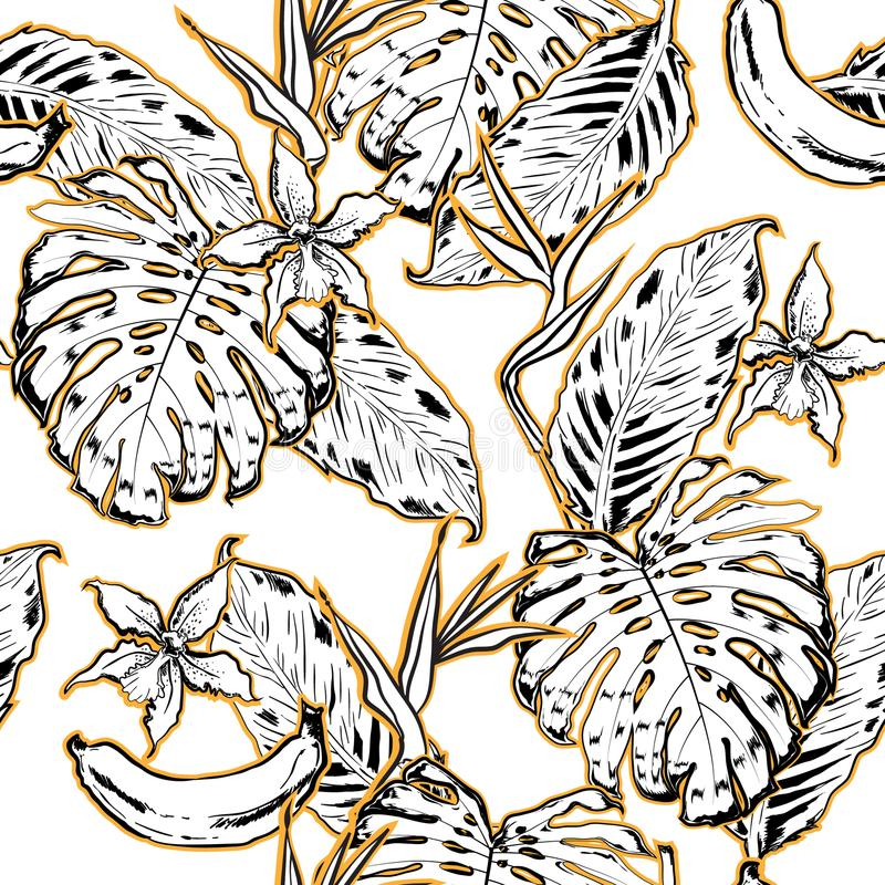Outline hand drawing Exotic leaves seamless pattern. Tropical le royalty free illustration