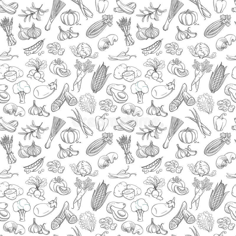 Outline hand drawn vegetable pattern (flat style, thin line). Vector illustration Outline hand drawn vegetable pattern (flat style, thin line). Black and white stock illustration