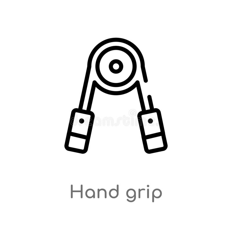 outline hand grip vector icon. isolated black simple line element illustration from gym equipment concept. editable vector stroke vector illustration