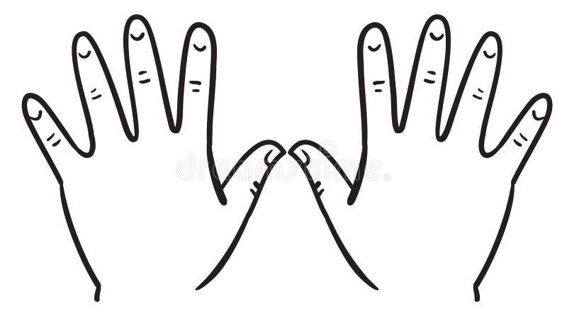 Outline Of Hands Stock Vector Illustration Of Left Five
