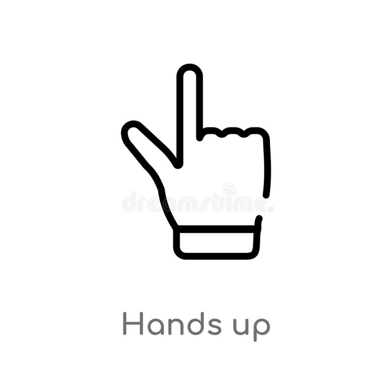 outline hands up vector icon. isolated black simple line element illustration from gestures concept. editable vector stroke hands stock illustration
