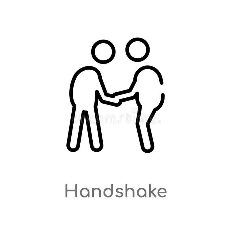 outline handshake vector icon. isolated black simple line element illustration from customer service concept. editable vector royalty free illustration