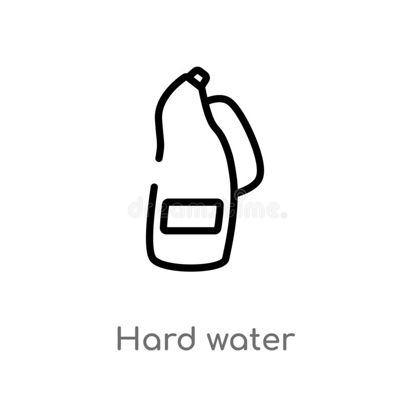 outline hard water vector icon. isolated black simple line element illustration from cleaning concept. editable vector stroke hard royalty free illustration