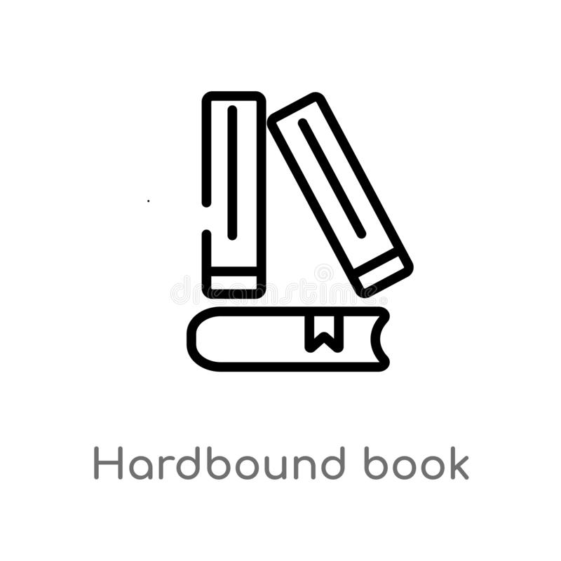 Outline hardbound book vector icon. isolated black simple line element illustration from education concept. editable vector stroke. Hardbound book icon on white vector illustration