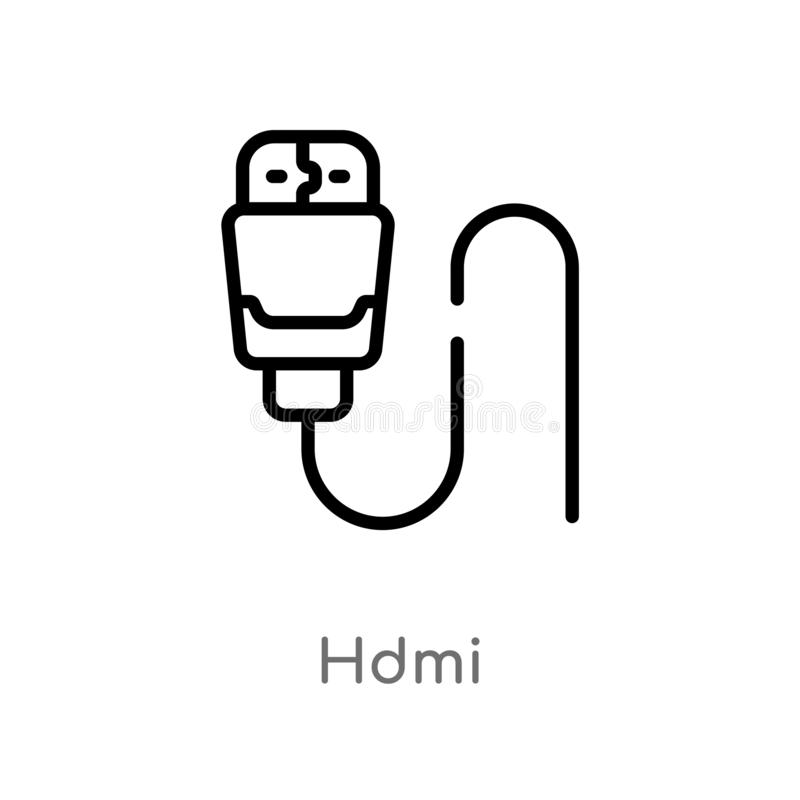 Outline hdmi vector icon. isolated black simple line element illustration from electronic devices concept. editable vector stroke. Hdmi icon on white background stock illustration