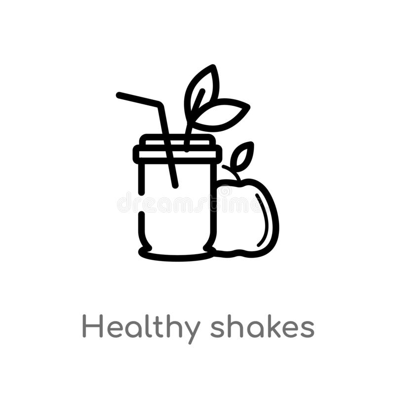 outline healthy shakes vector icon. isolated black simple line element illustration from food concept. editable vector stroke stock illustration