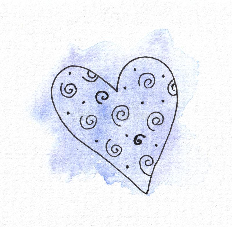 The outline of the heart on the background of a watercolor blue spot. Valentine`s day. The outline of the heart on the background of a watercolor blue spot. For royalty free illustration