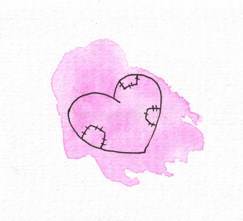 The outline of the heart on the background of a watercolor pink spot. Valentine`s day. The outline of the heart on the background of a watercolor pink spot. For royalty free illustration