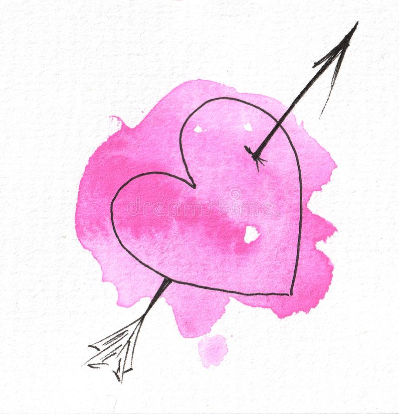 The outline of the heart on the background of a watercolor pink spot. Valentine`s day. The outline of the heart on the background of a watercolor pink spot. For stock illustration