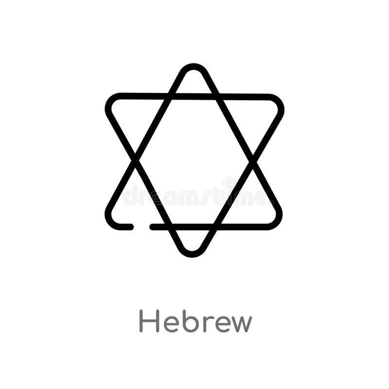 Outline hebrew vector icon. isolated black simple line element illustration from religion-2 concept. editable vector stroke hebrew. Icon on white background royalty free illustration