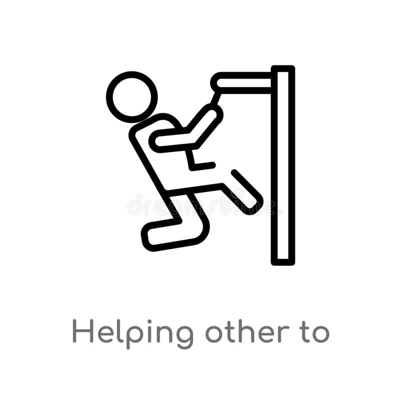 Outline helping other to jump vector icon. isolated black simple line element illustration from people concept. editable vector. Stroke helping other to jump stock illustration