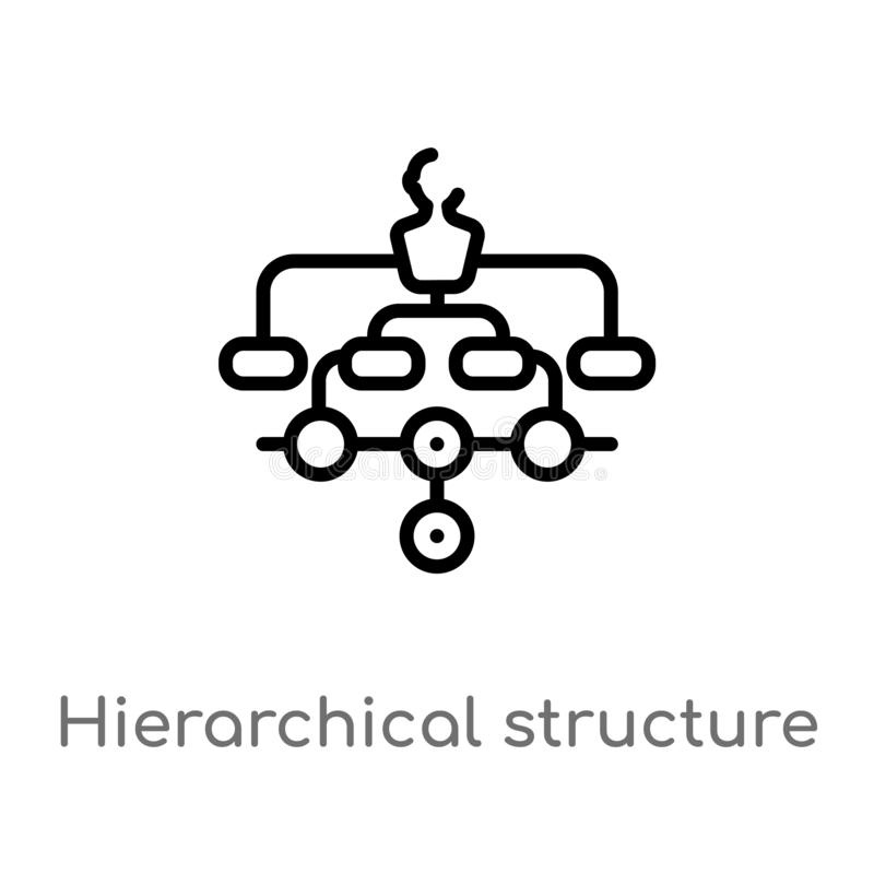 Outline hierarchical structure vector icon. isolated black simple line element illustration from digital economy concept. editable. Vector stroke hierarchical royalty free illustration