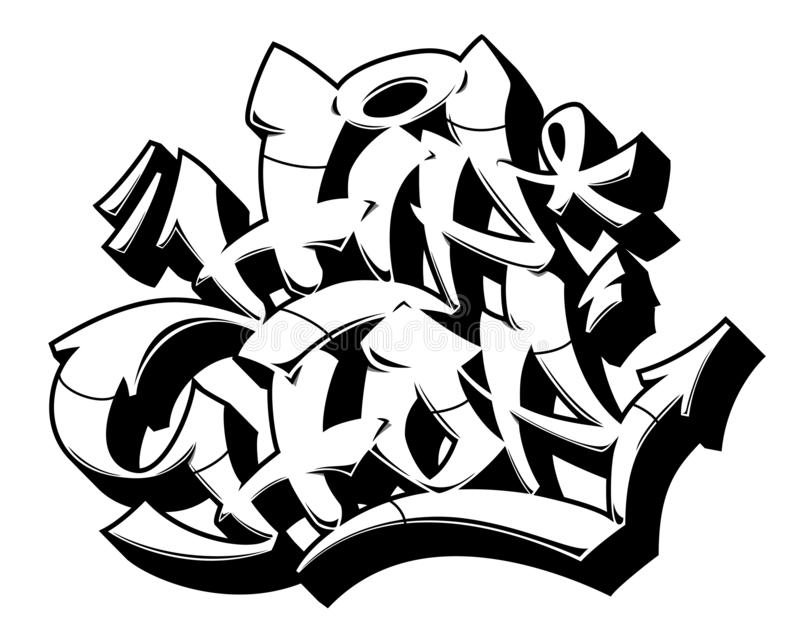 Outline Hip-Hop in graffiti style. Hip-Hop word in readable graffiti style. Only black line isolated on white background vector illustration