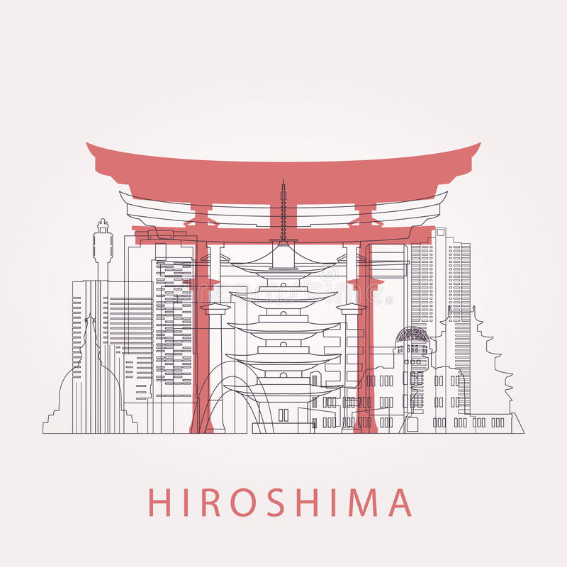 Outline Hiroshima skyline with landmarks. Vector illustration. Business travel and tourism concept with historic buildings. Image for presentation, banner vector illustration