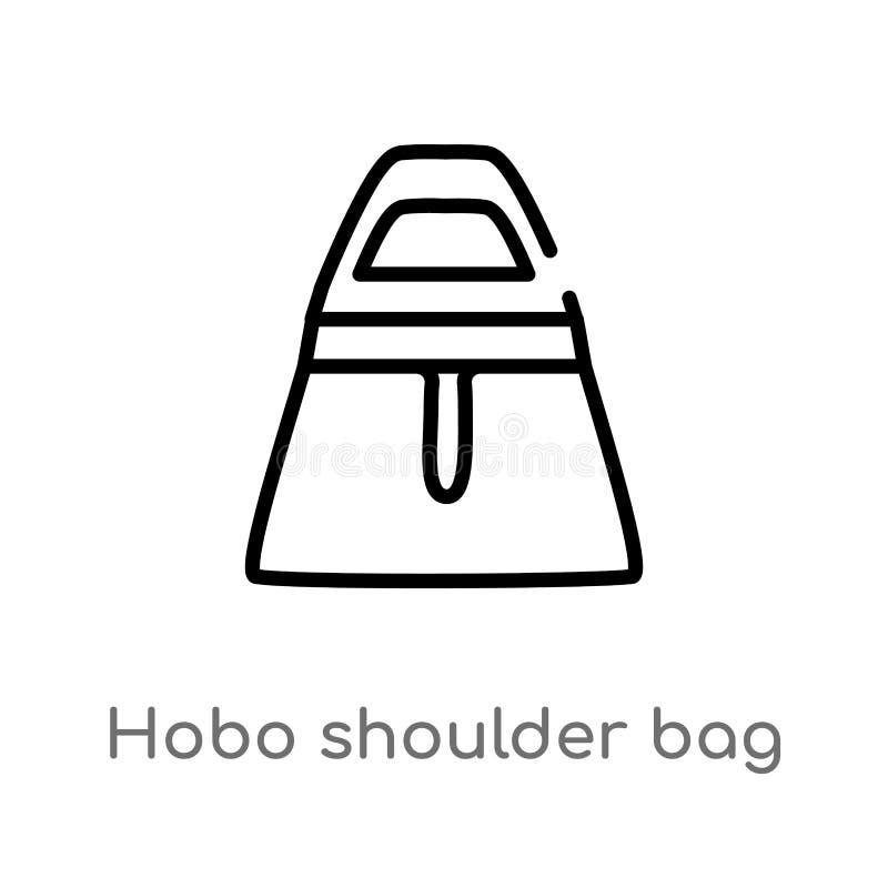 outline hobo shoulder bag vector icon. isolated black simple line element illustration from fashion concept. editable vector vector illustration