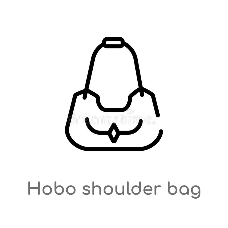 outline hobo shoulder bag vector icon. isolated black simple line element illustration from woman clothing concept. editable stock illustration