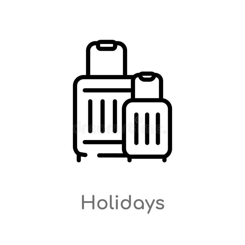 outline holidays vector icon. isolated black simple line element illustration from technology concept. editable vector stroke stock illustration