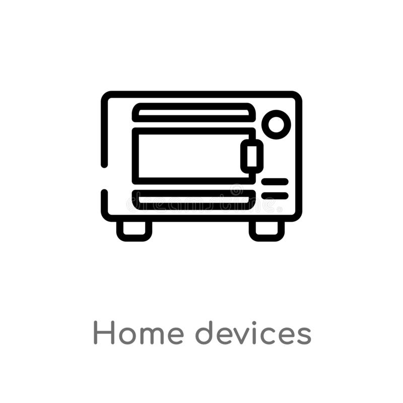 Outline home devices vector icon. isolated black simple line element illustration from smart home concept. editable vector stroke. Home devices icon on white stock illustration