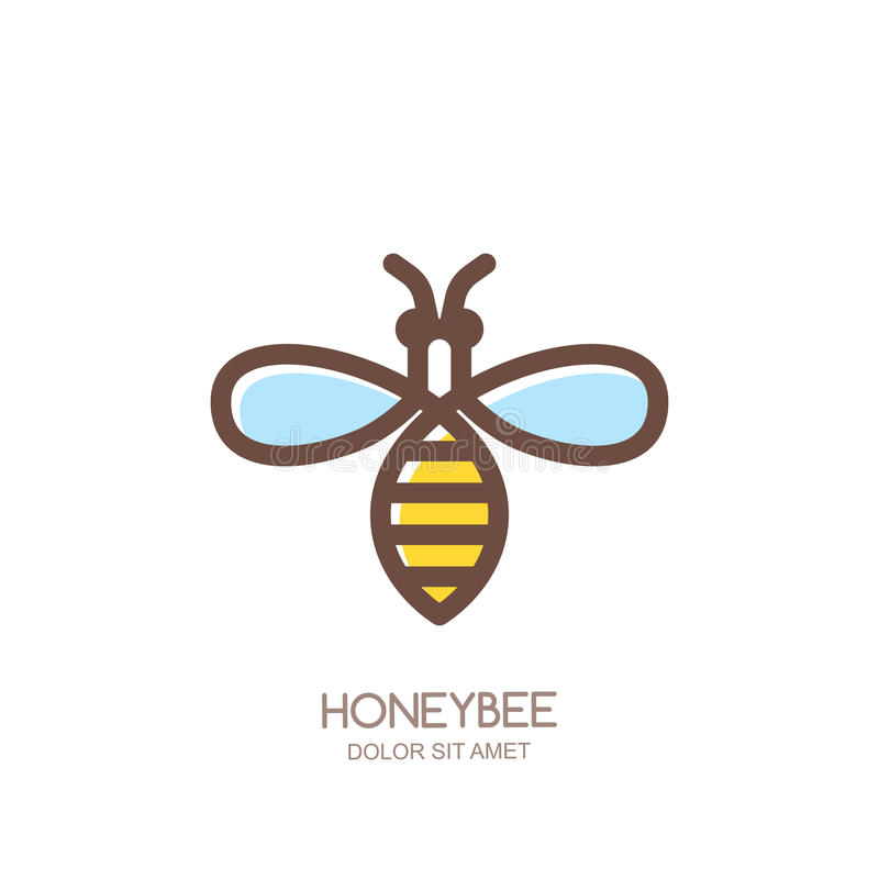 outline honeybee logo emblem or icon linear bee isolated on white rh dreamstime com honey bee mascot honey bee ligonier pa