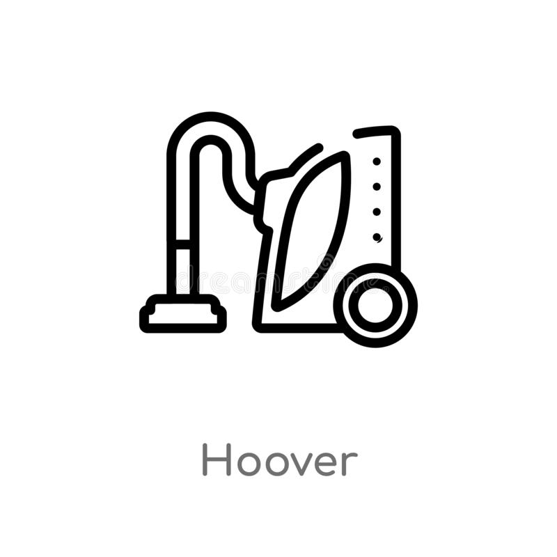 Outline hoover vector icon. isolated black simple line element illustration from cleaning concept. editable vector stroke hoover. Icon on white background vector illustration