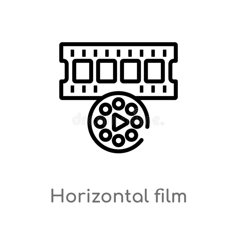 outline horizontal film strip vector icon. isolated black simple line element illustration from technology concept. editable vector illustration