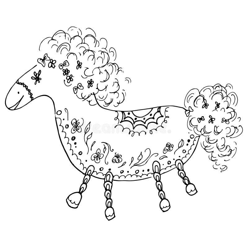 Outline horse vector illustration. Doodle outline horse with floral elements on white background. Floral ornament. Vector design. royalty free illustration