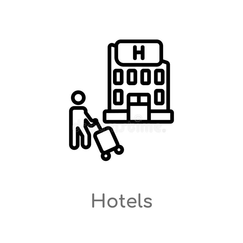 outline hotels vector icon. isolated black simple line element illustration from holidays concept. editable vector stroke hotels vector illustration