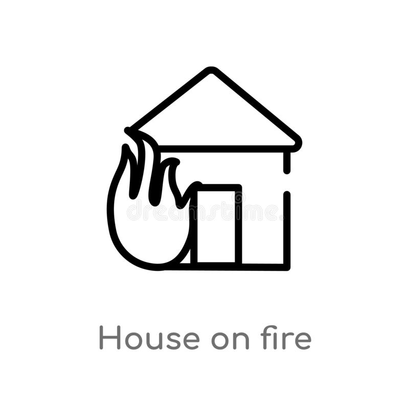 Outline house on fire vector icon. isolated black simple line element illustration from meteorology concept. editable vector. Stroke house on fire icon on white vector illustration