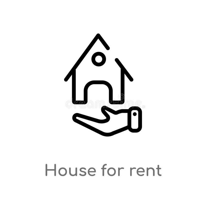 outline house for rent vector icon. isolated black simple line element illustration from nature concept. editable vector stroke royalty free illustration
