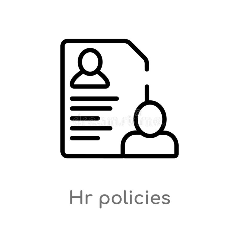outline hr policies vector icon. isolated black simple line element illustration from general-1 concept. editable vector stroke hr vector illustration