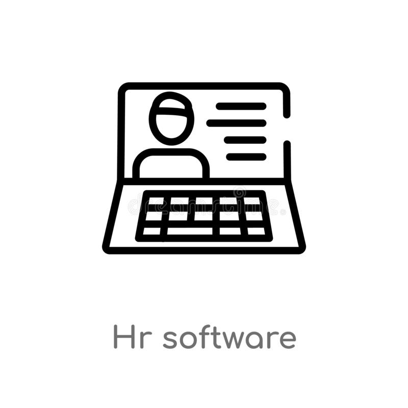 outline hr software vector icon. isolated black simple line element illustration from general-1 concept. editable vector stroke hr stock illustration