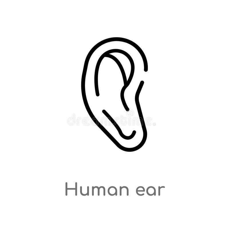 outline human ear vector icon. isolated black simple line element illustration from human body parts concept. editable vector royalty free illustration