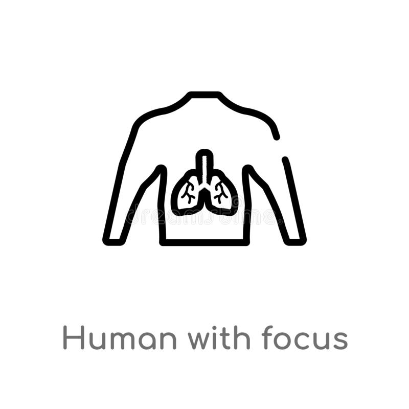 outline human with focus on the lungs vector icon. isolated black simple line element illustration from human body parts concept. stock illustration