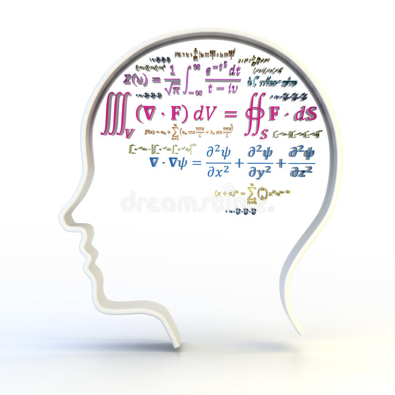 Outline of human head with advanced mathematical. Equations, 3d render, white background royalty free illustration