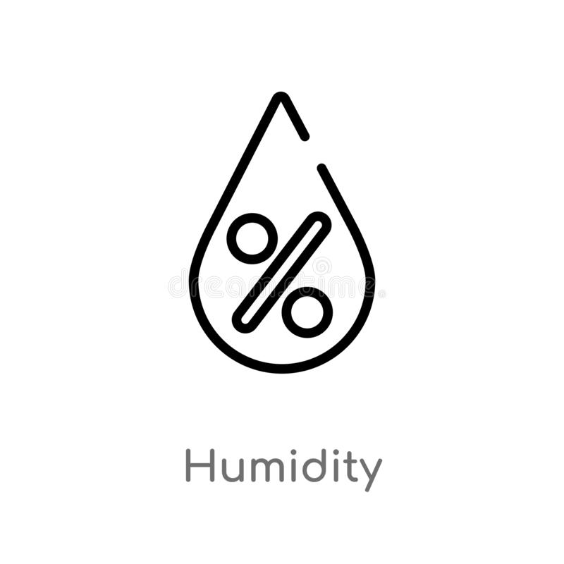 Outline humidity vector icon. isolated black simple line element illustration from meteorology concept. editable vector stroke. Humidity icon on white stock illustration