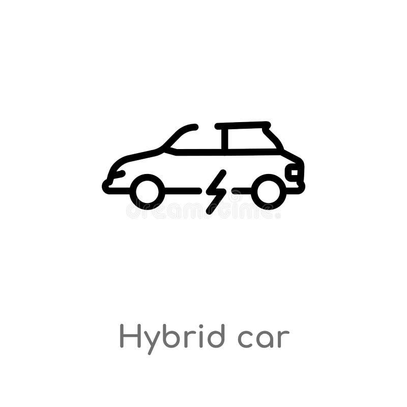 Outline hybrid car vector icon. isolated black simple line element illustration from transport concept. editable vector stroke. Hybrid car icon on white stock illustration
