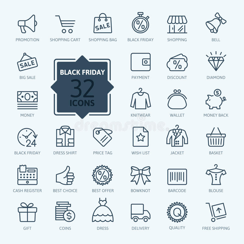 Outline icon collection - Black Friday vector illustration