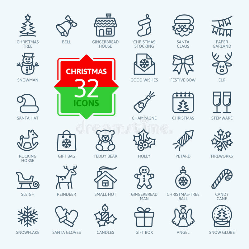 Outline icon collection - Christmas stock illustration