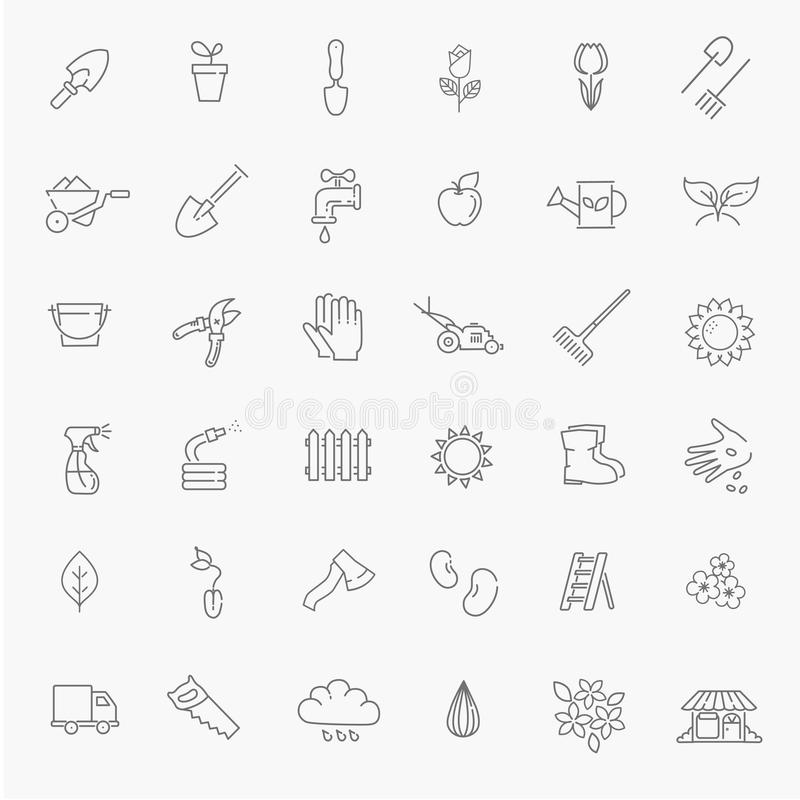 Outline icon collection - Flower and Gardening stock illustration