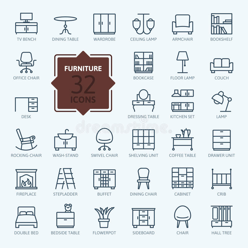 Outline icon collection - furniture. Thin lines web icon set vector illustration