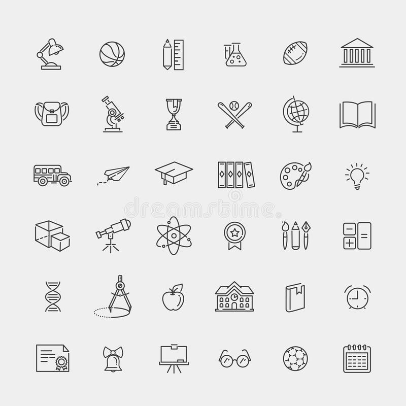 Outline icon collection - School education. Outline vector line icon collection - School education vector illustration