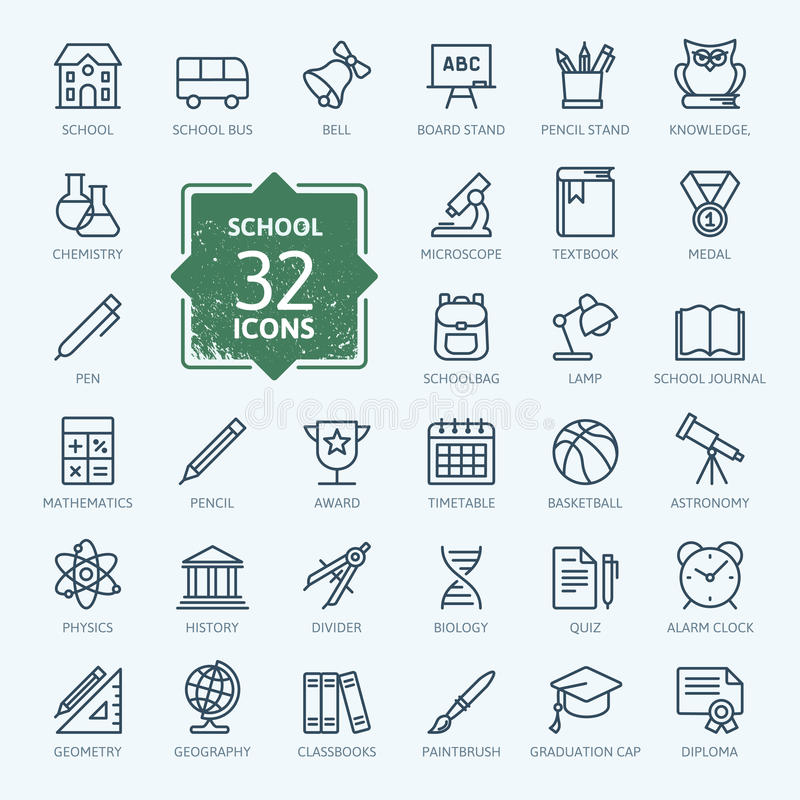 Outline icon collection - School. Thin line web icon set - School, education royalty free illustration