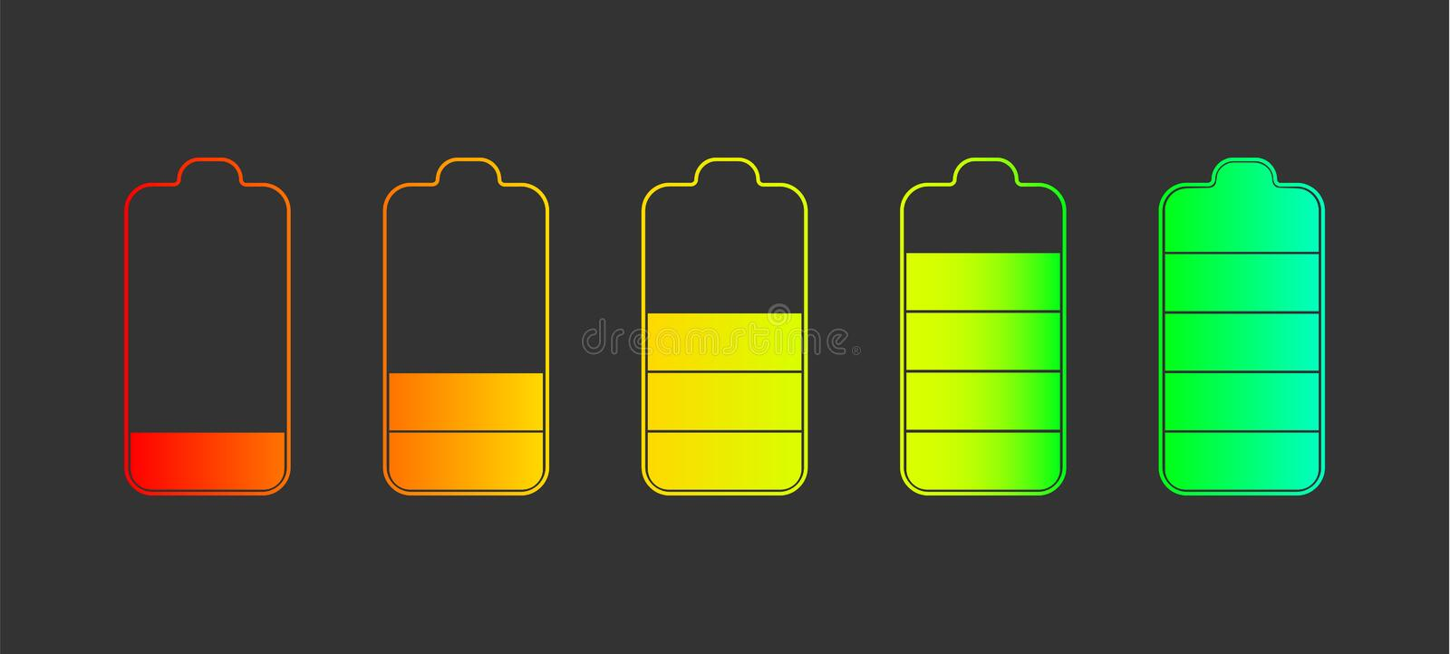 Outline Icon set of battery charge level indicators royalty free illustration
