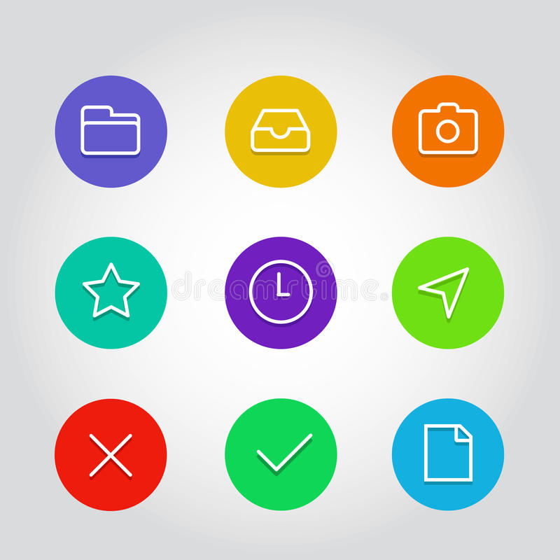 Outline icon set with clock, arrow and navigation elements royalty free illustration