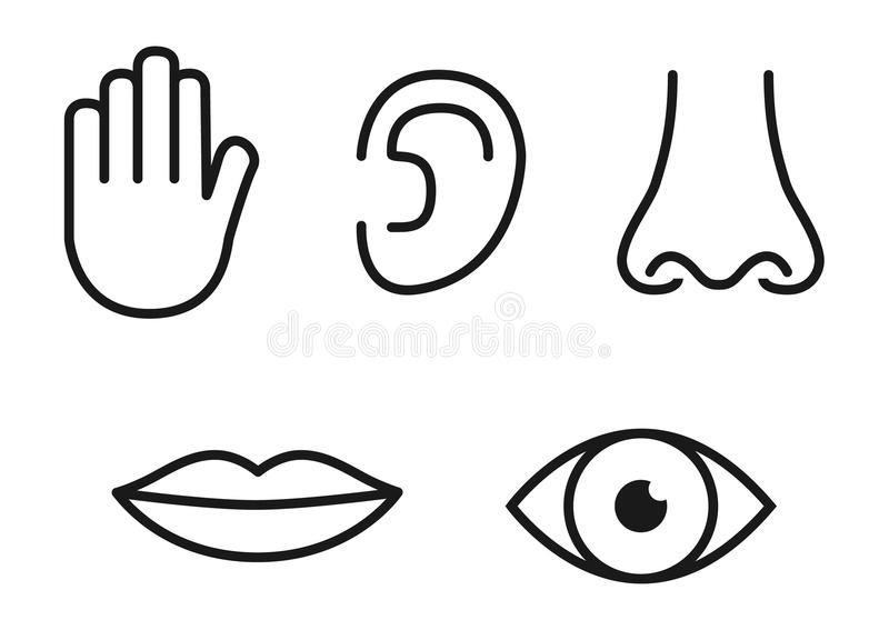 Outline icon set of five human senses: vision eye, smell nose, hearing ear, touch hand, taste mouth with tongue stock illustration
