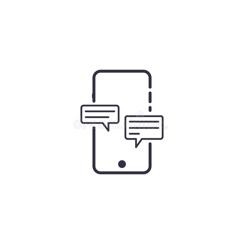 Outline icon of vector smartphone with chat bubble. Message in ballons royalty free illustration