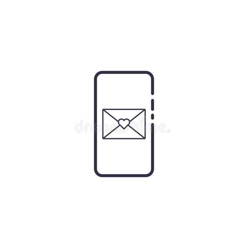 Outline icon of vector smartphone with letter mail envelope and heart shape. Friendship call mobile screen concept line vector illustration