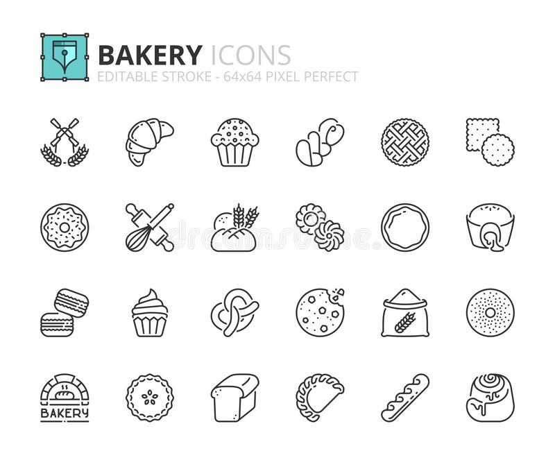 Outline icons about bakery products. Desserts, sweet food, bread, cookies, buns and pastries. Editable stroke 64x64 pixel perfect royalty free illustration