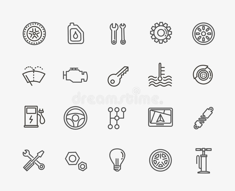 Outline icons. Car parts and services vector illustration