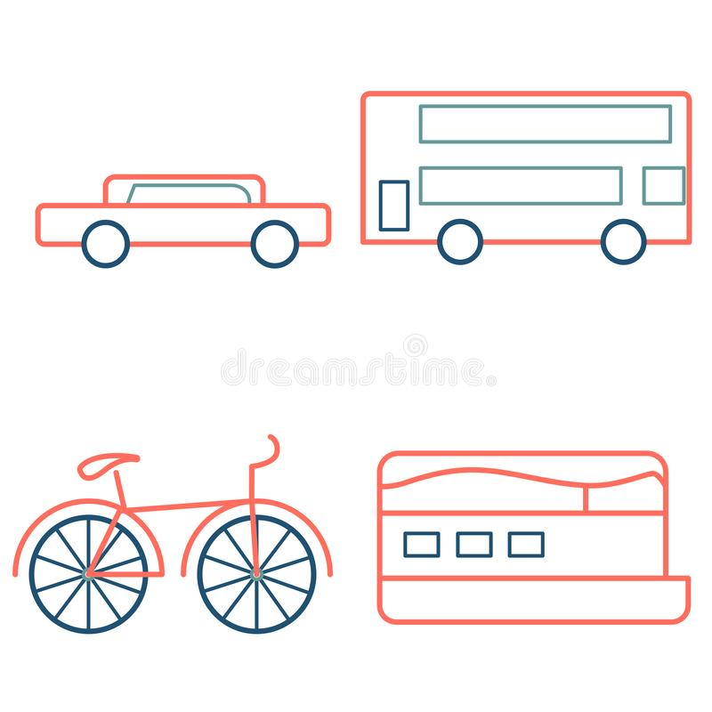 Outline icons in coral leave color. Car, bus, boat and bike, vector illustration. Outline icons in coral leave color. Car, bus, boat and bike royalty free illustration